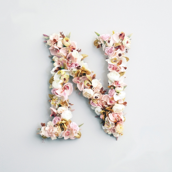 Golden Floral Wall Letter