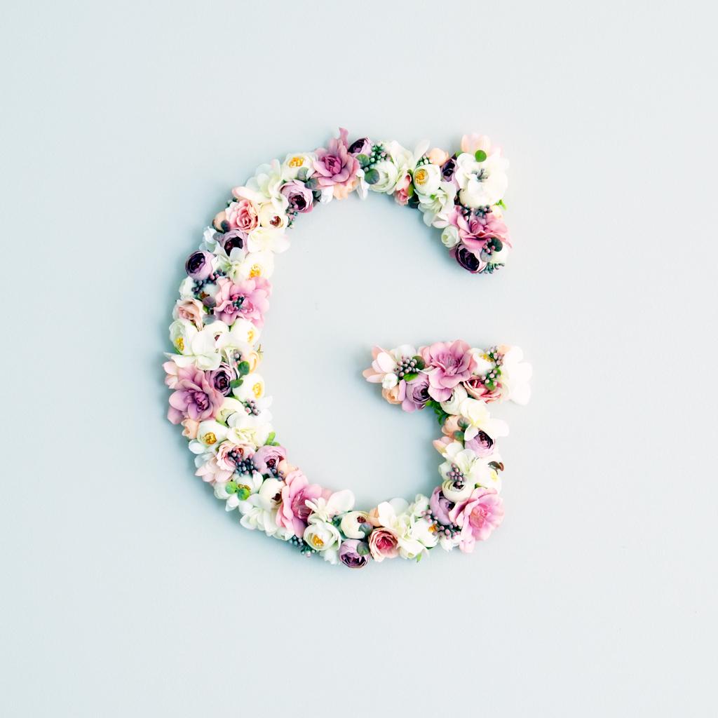 Boho chic floral letter