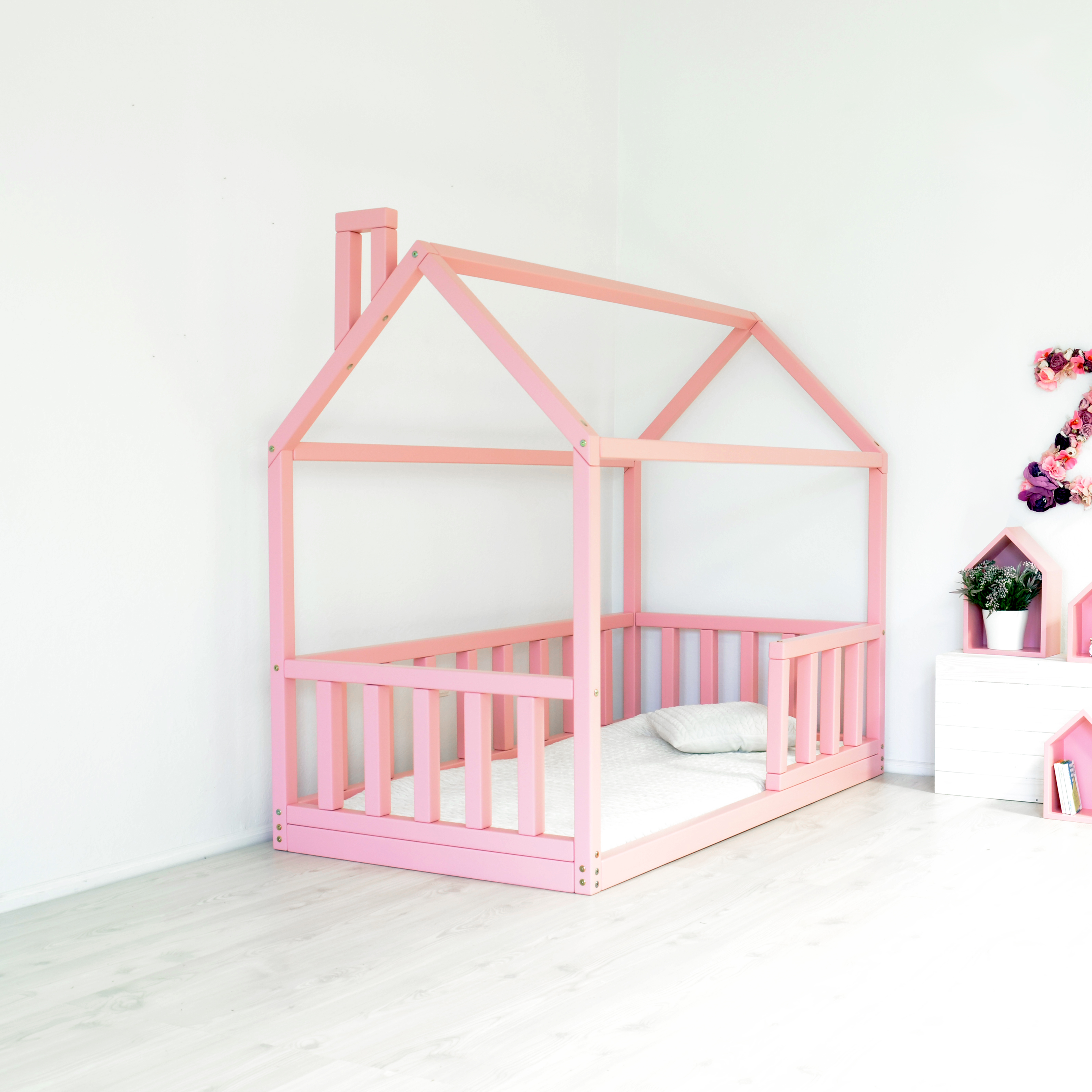 House bed frame with rails shopkidday for Bed frame with dog kennel